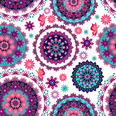Mandala floral pattern and butterflies
