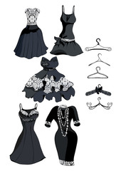 Set black dress with white lace