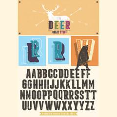 Retro font set with ornament frame for making label design