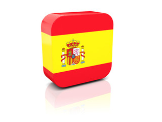Square icon with flag of spain