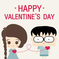 happy valentines day love link cartoon vector