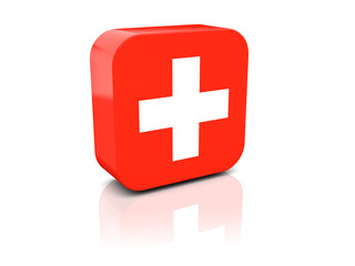 Square icon with flag of switzerland