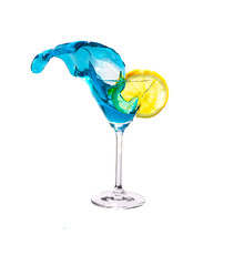 Splashing Blue Martini and Lemon