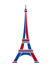 Eiffel Tower red and blue Paris. Icon design