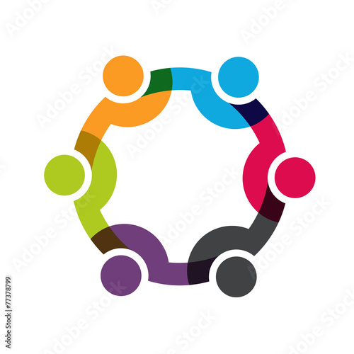 Social Network, Group of 6 people business men. Vector design