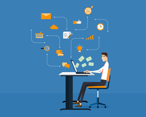 vector people business making earning  online  background