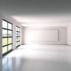 Leerer Raum mit weißer Leinwand