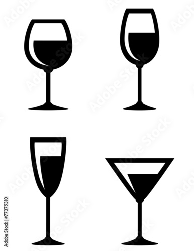set of isolated wine glasses icons - 77379310