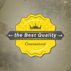 Best quality vector label with royal crown and retro background
