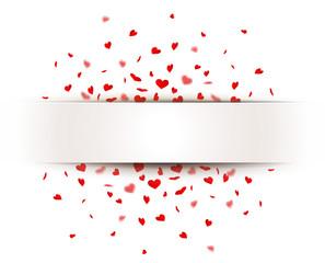 Banner mit Herzkonfetti