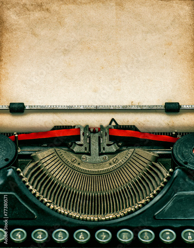Deurstickers Retro Vintage typewriter with textured grungy paper
