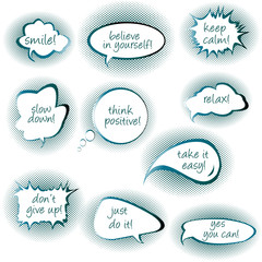 Set of chat bubbles with motivational and positive thinkiins mes