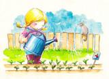 Cute girl watering her garden.Watercolors.