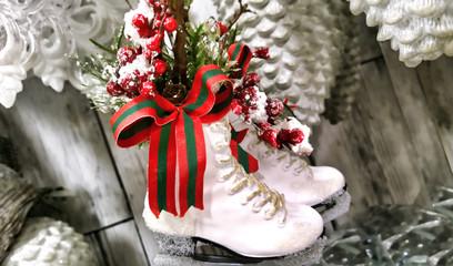 decorative ice skates winter still life