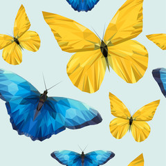 yellow and blue butterfly of edges and triangles pattern