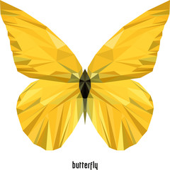 yellow butterfly of the faces and triangles
