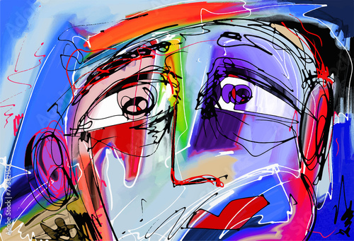 abstract digital painting of human face - 77382150