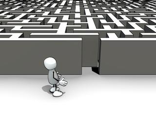 little sketchy man entering a maze