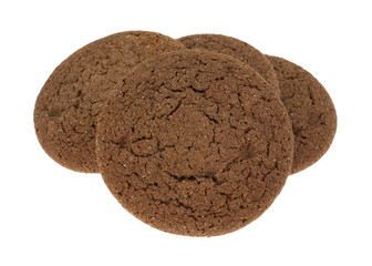 Three Dutch Cocoa Soft Cookies On White