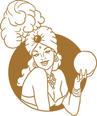 Pin-up girl with a magic ball portrait of a golden circle emblem