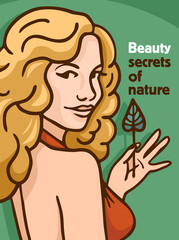 secrets of nature poster pin-up blonde with leaf