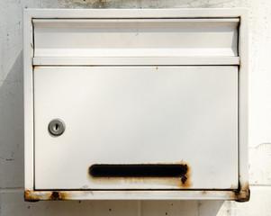 Old white mailbox