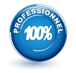 100 pour 100 professionnel sur bouton bleu