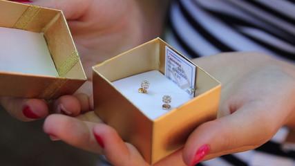 children's earrings in a gift box