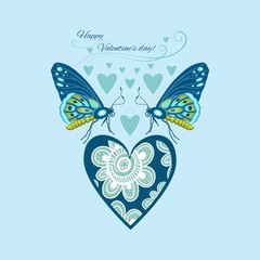 greeting card happy Valentine's day decorative butterflies