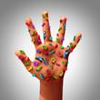 Leinwanddruck Bild - Hand Germs