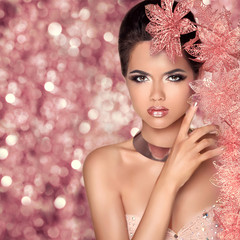 Makeup. Glamour Fashion Portrait of Beautiful Attractive Girl Wi