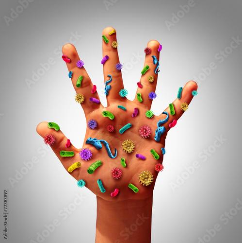 Leinwanddruck Bild Hand Germs