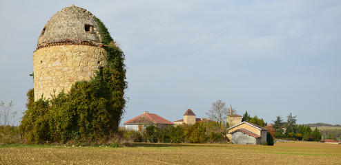 Panoramic view of the traditional French village in Gascony