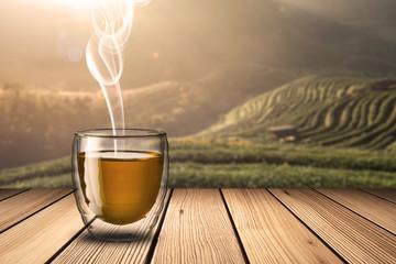 Glass of Green Tea on wood table