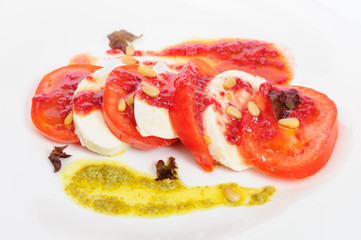 Caprese antipasto salad with mozarella cheese, tomatoes