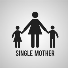 single mother whith childe over gray color background