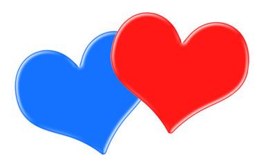 Zwei Herzen rot und blau