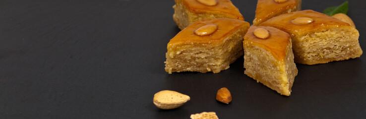 Baklava with almonds. Selective focus.