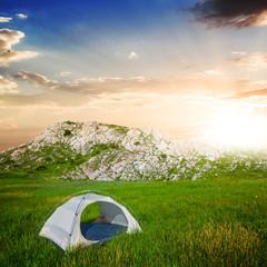 touristic camp near mountain footprint