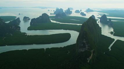 Aerial view Phang Nga Bay sheer limestone karsts, Thailand