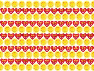 Geschenkpapier Design mit Sonnen und Herzen