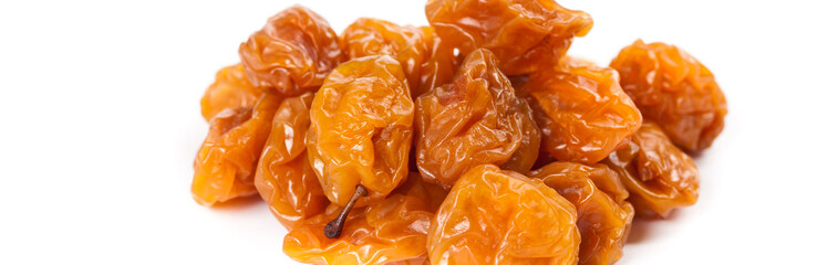 Dried cherry-plum. Macro. Selective focus.