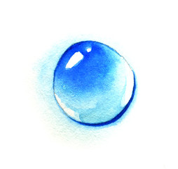 A drop of water. Watercolor illustration