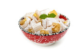 Turkish Delight Nuts Rahat Locum on white background poster
