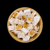 Turkish Delight Nuts Rahat Locum isolated on black background poster