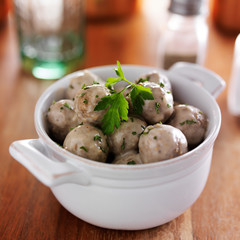 swedish meatballs in stoneware dish