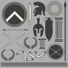 Old greek roman spartan set icons
