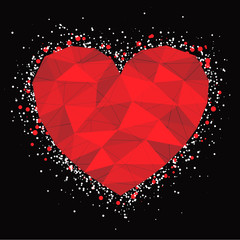 red mosaic heart - vector illustration