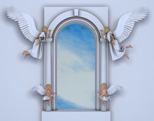 Portal con ángeles y querubines