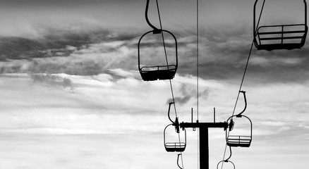 Ski Lift in Silhouette